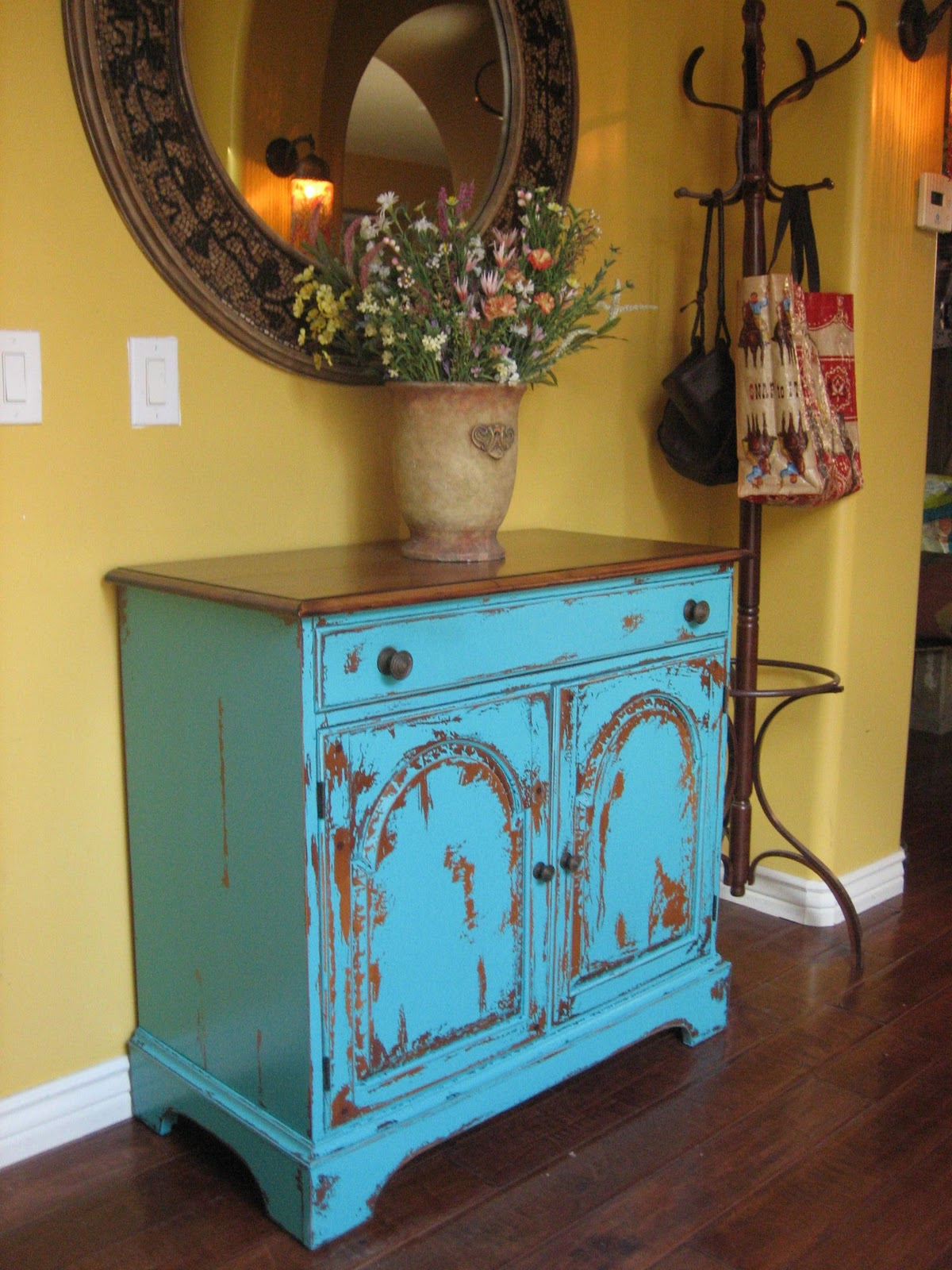 distressed turquoise home decor