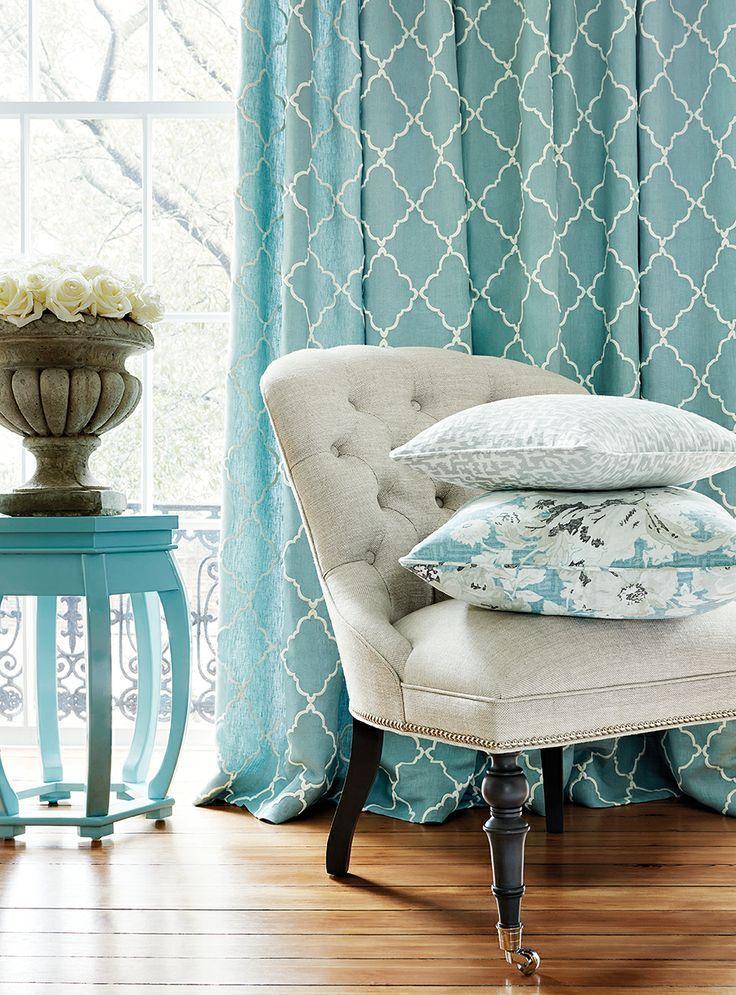 turquoise home decor fabric