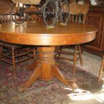 antique oak round pedestal dining table
