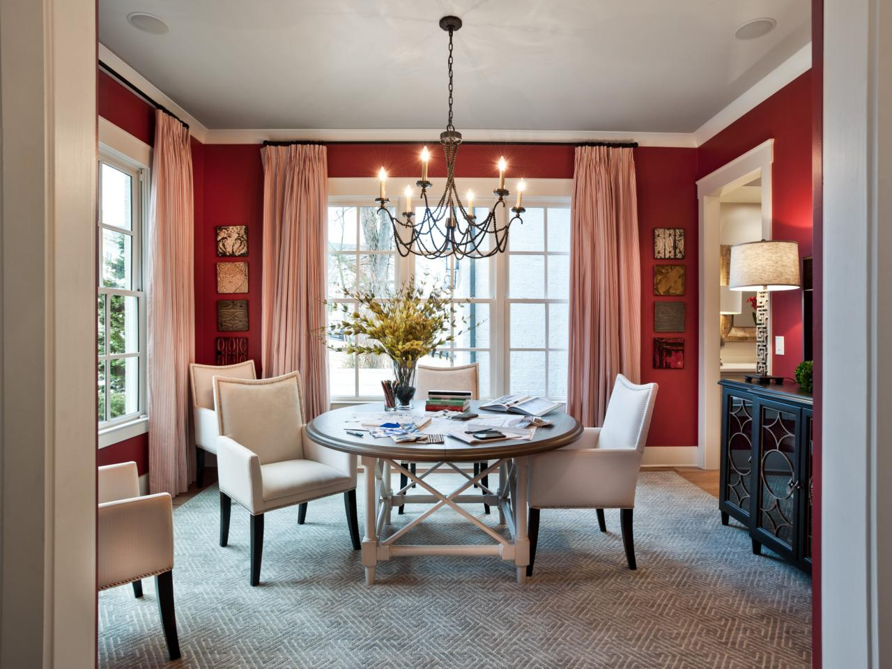 bow window treatments dining room