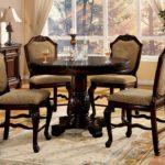 espresso round pedestal dining table