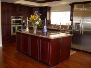 kitchen cabinets in dark wood