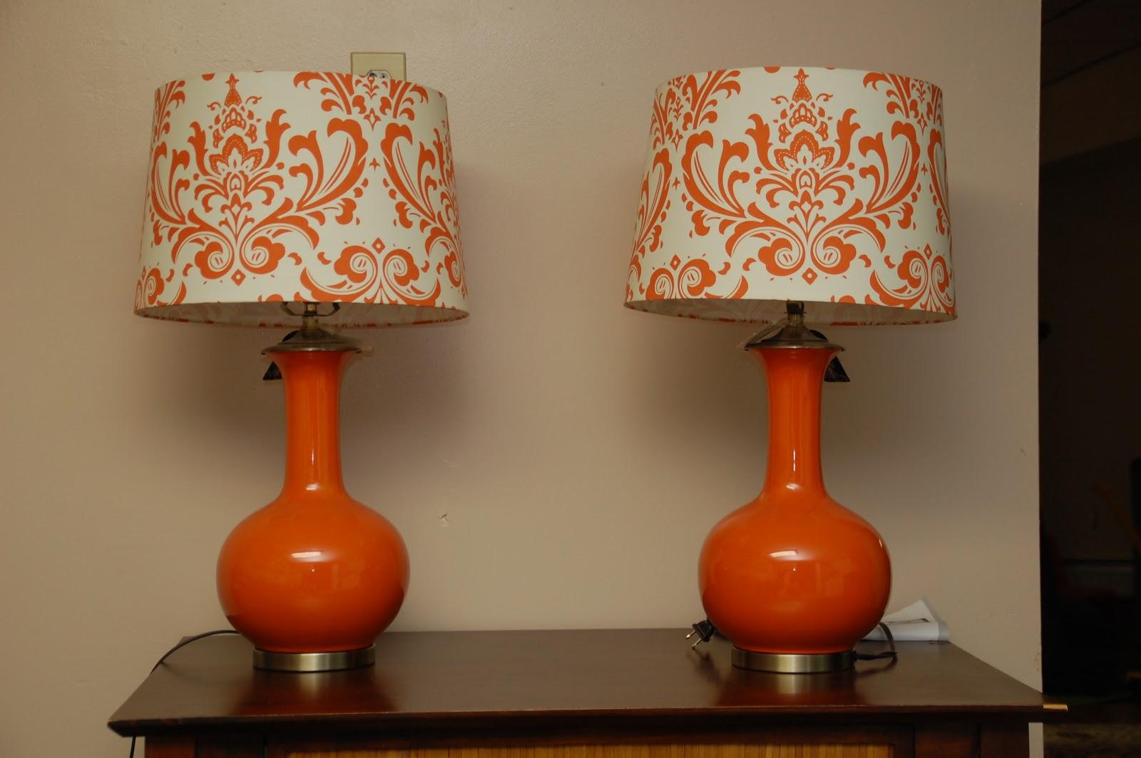 orange check lampshade