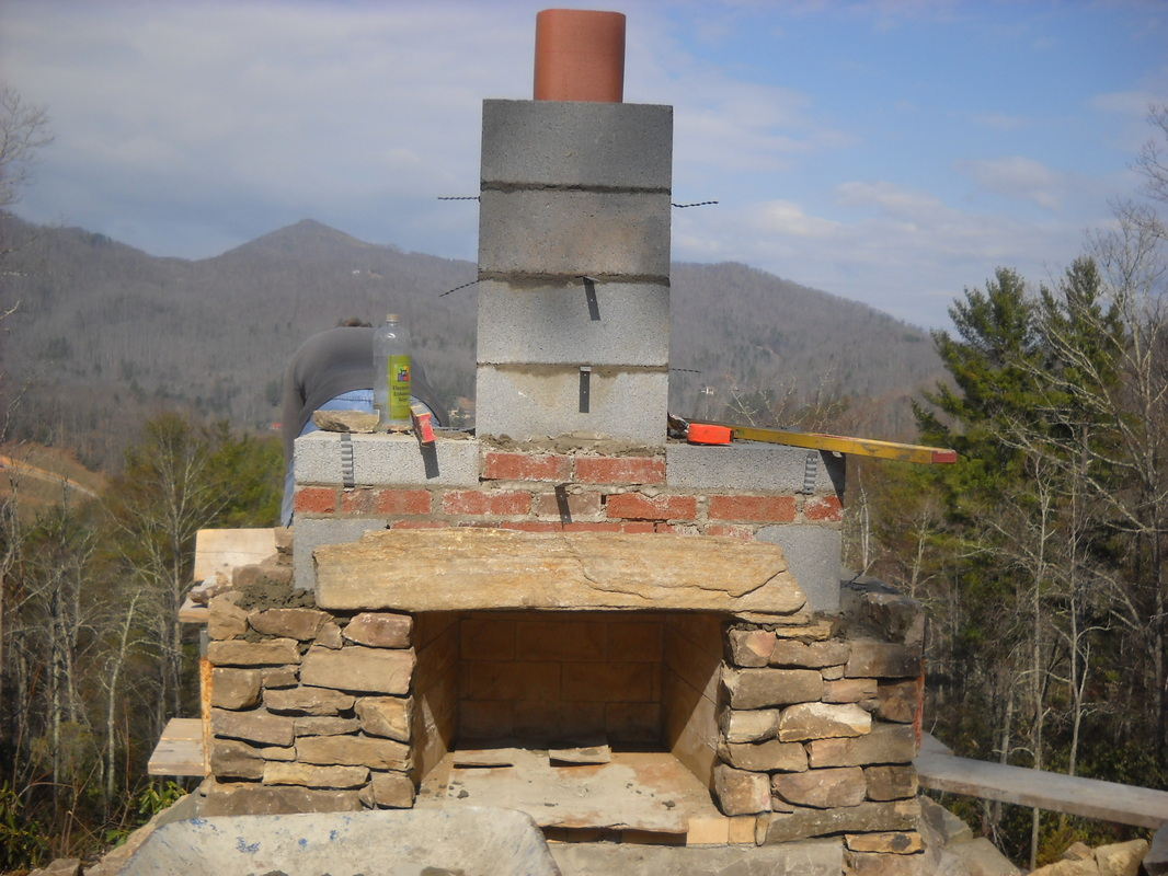 outdoor fireplace build