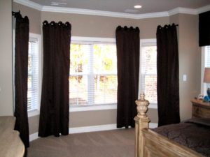 square bay window curtain rods