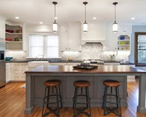 white kitchens with grey islands