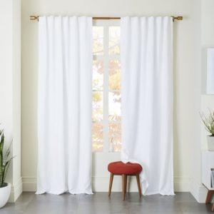 white linen window curtains