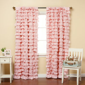 white waterfall ruffle curtains